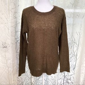 Rubbish olive green fuzzy knit pullover sweater